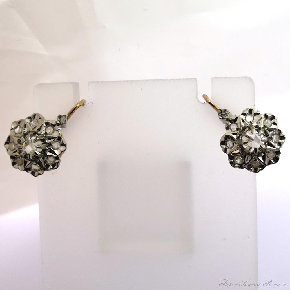 achat vente de boucles d oreilles anciennes en or et diamants 192 bijor bijoux anciens paris or. Black Bedroom Furniture Sets. Home Design Ideas