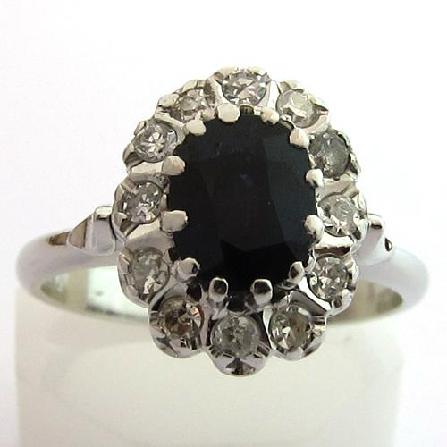 anciennes bagues de fian ailles bague saphir diamant or blanc 947 bijoux anciens paris. Black Bedroom Furniture Sets. Home Design Ideas
