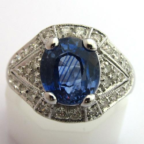 bagues anciennes bague ancienne saphir diamants or blanc 948 bijoux anciens paris. Black Bedroom Furniture Sets. Home Design Ideas