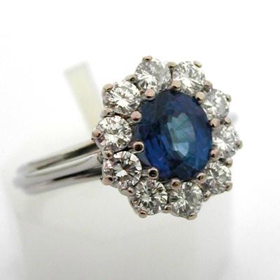 bague saphir diamants or 616 bagues de fian ailles occasion bijoux anciens paris or. Black Bedroom Furniture Sets. Home Design Ideas