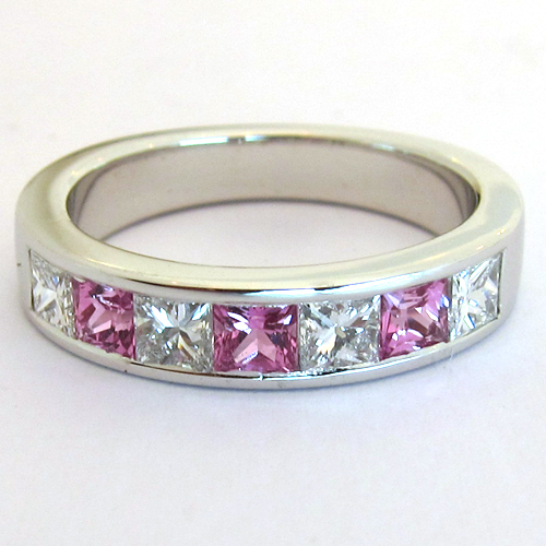 Super BEAUX BIJOUX OCCASION PARIS - Bague saphir rose diamants or blanc  LQ75