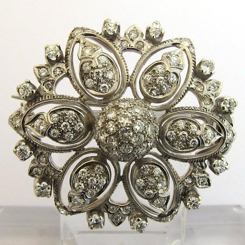 bijoux 1960 broche or blanc diamants 132 bijoux. Black Bedroom Furniture Sets. Home Design Ideas