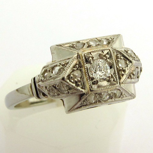 Favori BIJOUX ART DECO PARIS - BAGUE ART DECO PLATINE DIAMANTS 1002  SW66