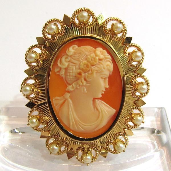 Broche et pendentif camée or rose perle 127  Bijoux anciens