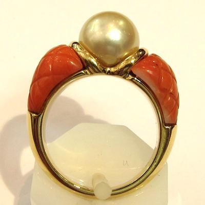 bijoux vintage occasion paris bague or jaune perle corail 1015 bijoux anciens paris 12. Black Bedroom Furniture Sets. Home Design Ideas