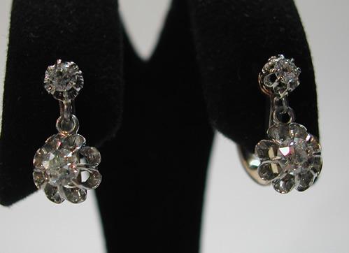 boucles d 39 oreilles dormeuses anciennes diamants or 16. Black Bedroom Furniture Sets. Home Design Ideas