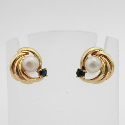 Boucles D Oreilles Or Perle De Culture D Eau Douce Saphir 104