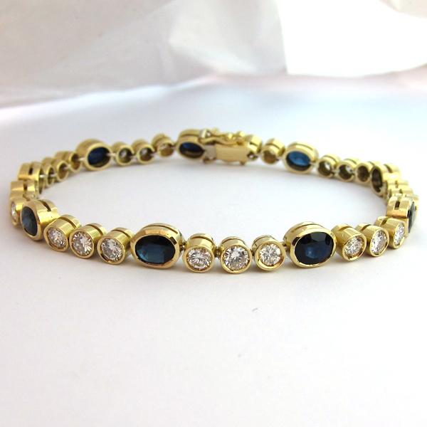 bracelets d 39 occasion en or bracelet diamant saphir 161 bijoux anciens paris or. Black Bedroom Furniture Sets. Home Design Ideas