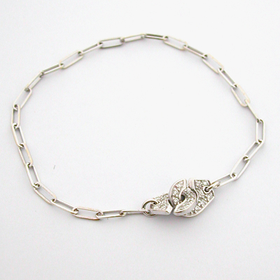 bracelet or blanc diamants 104 menottes dinh van bijoux anciens paris or. Black Bedroom Furniture Sets. Home Design Ideas