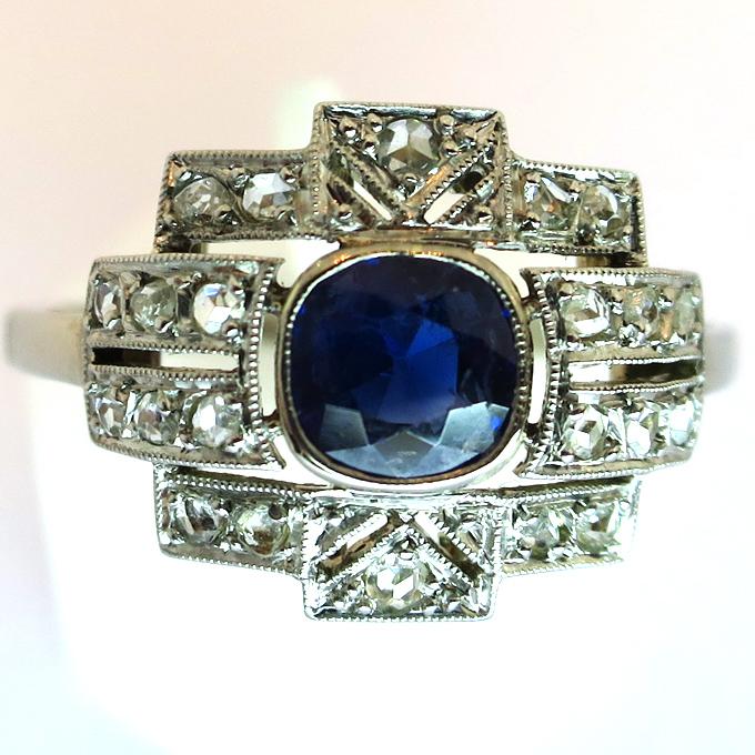Bien-aimé Bague ancienne art déco saphir diamants or platine 1495 : Bijoux  YM53