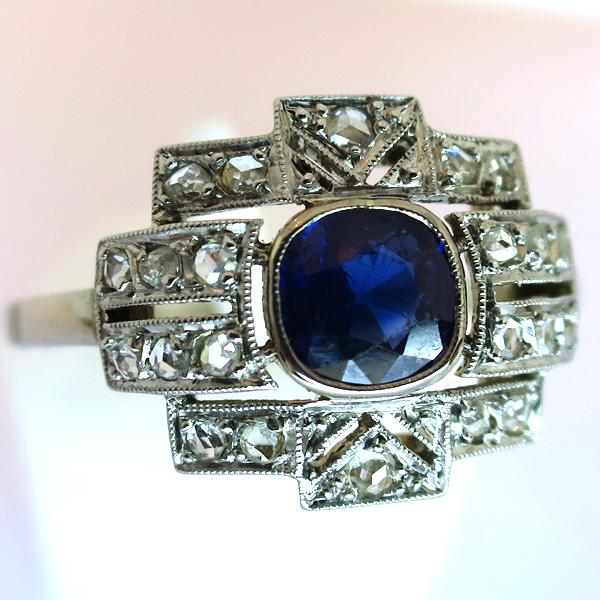 Favori Bague ancienne art déco saphir diamants or platine 1495 : Bijoux  NW58