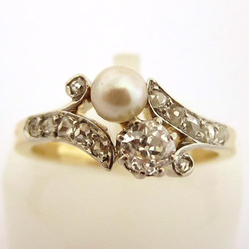 bague ancienne perle de culture diamants 727 bijoux. Black Bedroom Furniture Sets. Home Design Ideas