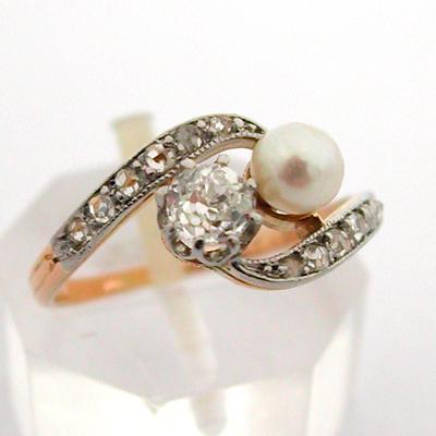 bague ancienne or diamants perle de culture 589 bijoux. Black Bedroom Furniture Sets. Home Design Ideas
