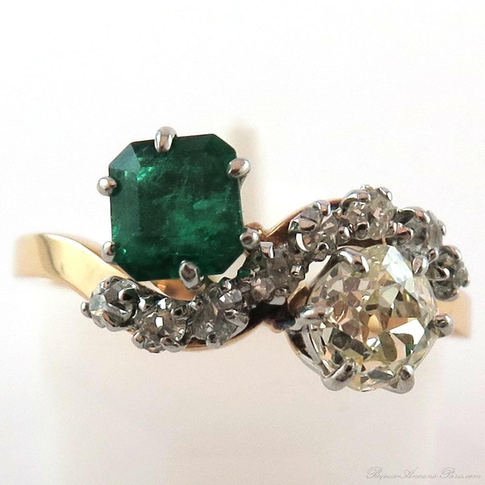 Bagues Anciennes Toi Et Moi Bague Emeraude Diamant Monture