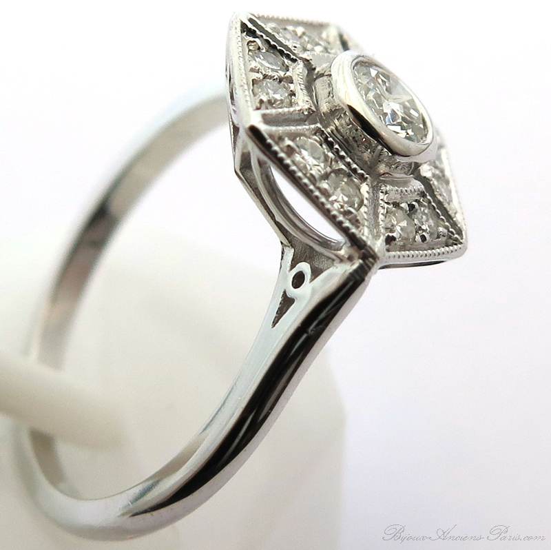 Berühmt Bagues art déco - Bague esprit art déco diamants monture or blanc 1669 FG11