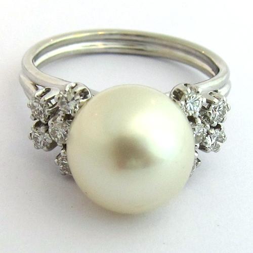 bague perle grise