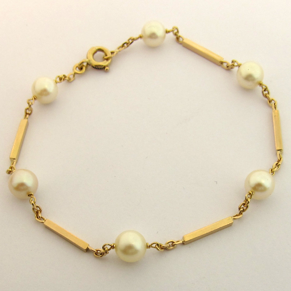 bracelet en or et perles de culture 160 bijoux anciens paris or. Black Bedroom Furniture Sets. Home Design Ideas