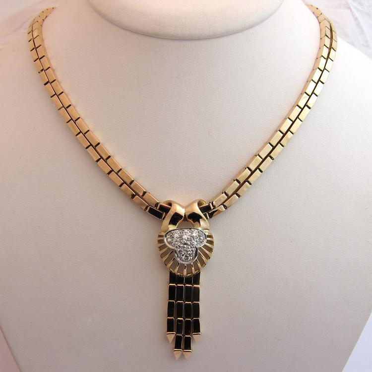 collier ancien or rose platine diamants 190 bijoux. Black Bedroom Furniture Sets. Home Design Ideas