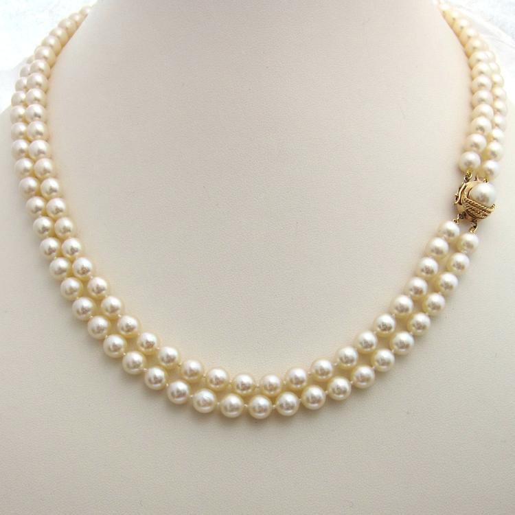 perles de culture du japon collier de perles deux rangs 207 bijoux anciens paris or. Black Bedroom Furniture Sets. Home Design Ideas