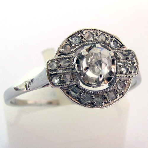 Fabuleux EXPERTISE BIJOUX PARIS - BAGUE ART DECO DIAMANTS OR PLATINE 702  UE23