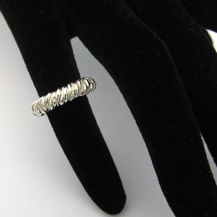 Hermes anneau corde en argent 338 - Anneau de cordage ...