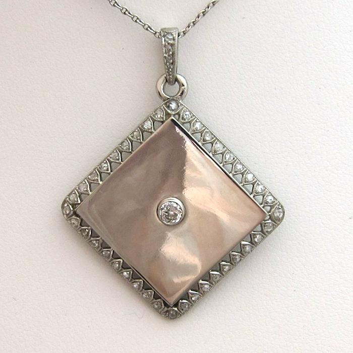 Pendentif porte photo 225 bijoux platine diamants bijoux anciens paris or - Pendentif porte photo argent ...