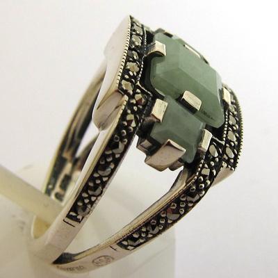 r plique de bijou art d co bague argent jade marcassites 313 bijoux anciens paris argent. Black Bedroom Furniture Sets. Home Design Ideas