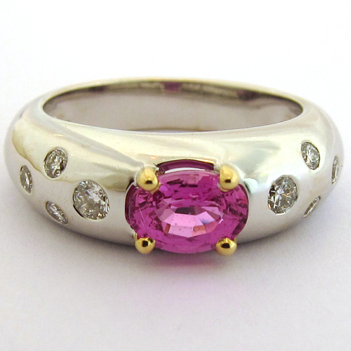 Super Saphir rose - Bague or saphir rose diamants 1260 LQ75