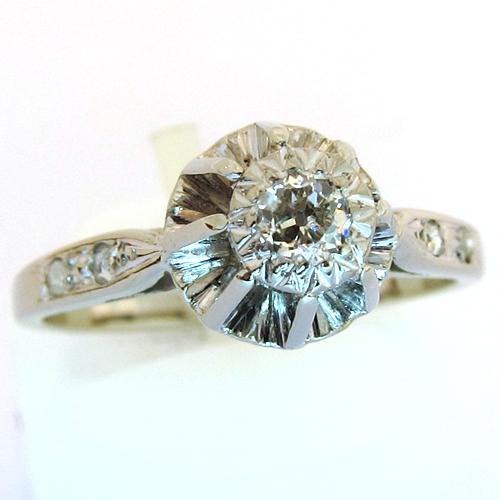 solitaire diamant accompagn 949 bague de fian ailles ancienne bijoux anciens paris or. Black Bedroom Furniture Sets. Home Design Ideas
