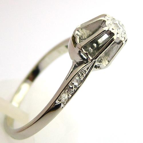 Favori Solitaire diamant accompagné 949 - Bague de fiançailles ancienne  ER45