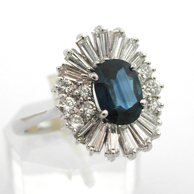 Bague or gris saphir diamants 584 – Bagues vintage – Bagues de ...