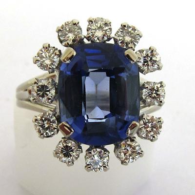 bague or gris platine pierre bleue diamants 683 bijoux anciens paris or. Black Bedroom Furniture Sets. Home Design Ideas