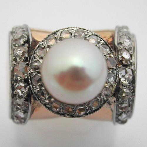 bague perle de culture diamants bague ancienne 284. Black Bedroom Furniture Sets. Home Design Ideas