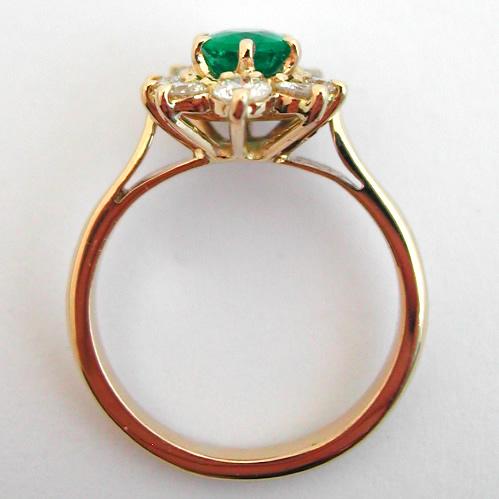 Bague Or Emeraude Diamants Fleur 295 Bijoux Anciens Paris Or