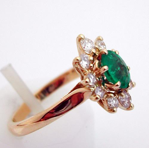 Exceptionnel Bague or émeraude diamants – Fleur 295 : Bijoux anciens Paris Or HZ43