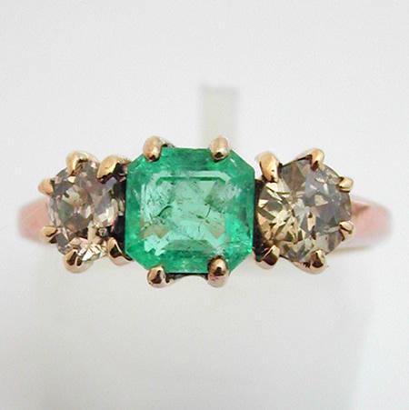 Bague Ancienne Emeraude Diamants 347 Bijoux Anciens Paris Or