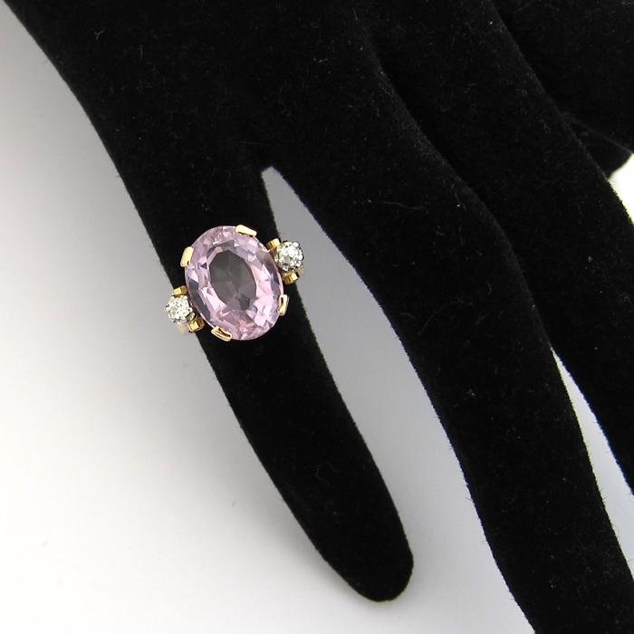 Assez Bague or rose améthyste diamants 816- Bagues anciennes : Bijoux  JB98