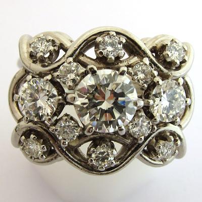 bijou 1950 1960 bague platine diamants 766 bijoux. Black Bedroom Furniture Sets. Home Design Ideas