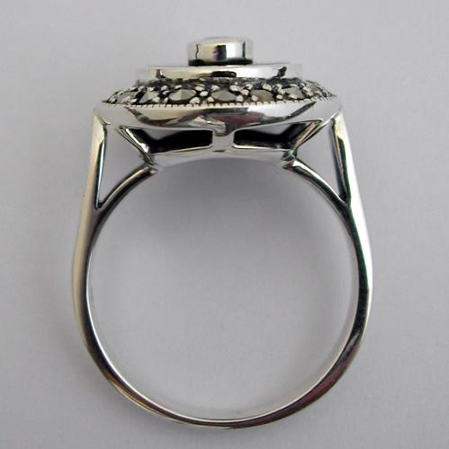 bagues art deco bague argent onyx opale marcassite 196 bijou de style art d co bijoux. Black Bedroom Furniture Sets. Home Design Ideas