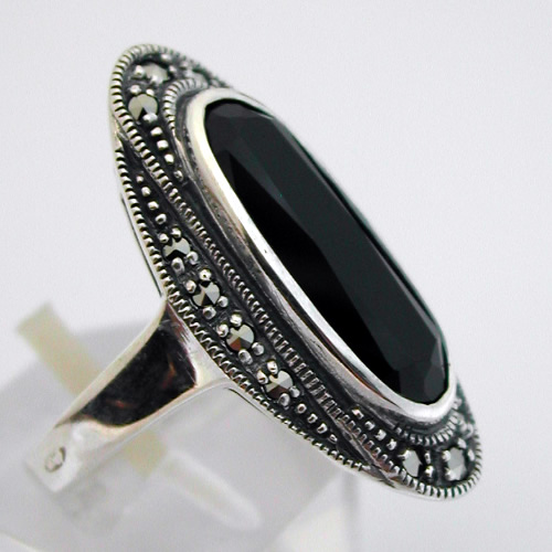 bague argent onyx marcassite 203 bijoux anciens paris argent. Black Bedroom Furniture Sets. Home Design Ideas