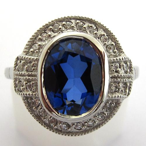 bague pierre bleue 322 bijoux anciens paris argent. Black Bedroom Furniture Sets. Home Design Ideas