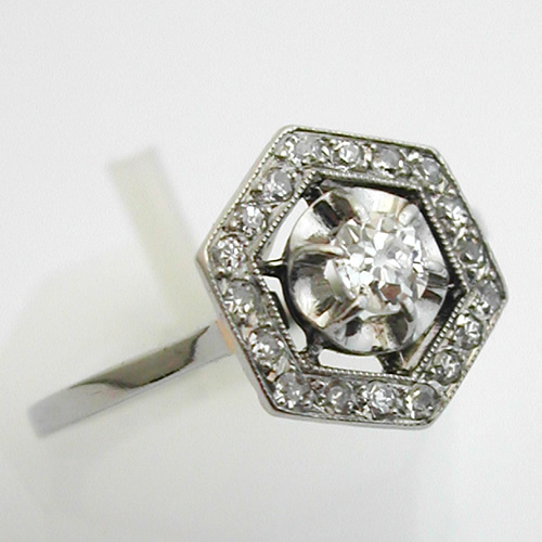 Favori Bague ancienne diamants or blanc – Hexagonale 333 : Bijoux anciens  ER45