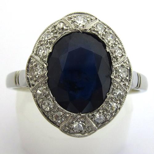bague or platine saphir diamants 856 bijou 1920 bijoux anciens paris or. Black Bedroom Furniture Sets. Home Design Ideas