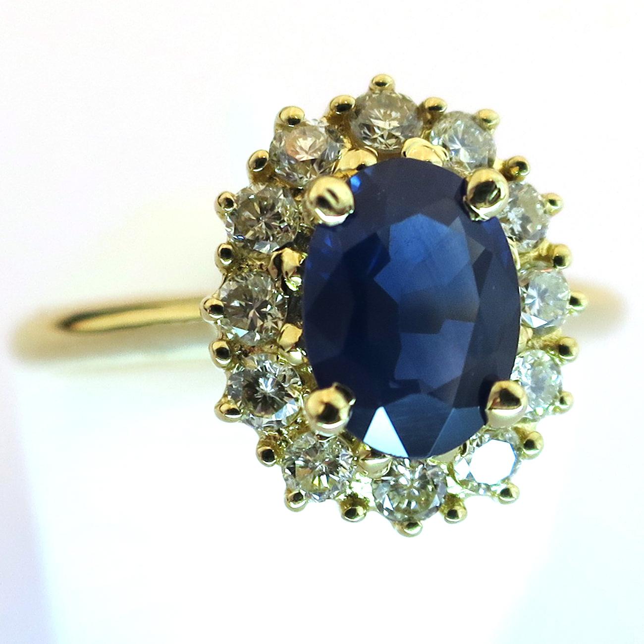 Exceptionnel Bague de fiançailles monture or jaune saphir bleu d'encre 1515  DX97