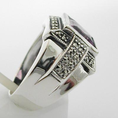 bijoux de style ancien en argent bague argent am thyste marcassites 308. Black Bedroom Furniture Sets. Home Design Ideas