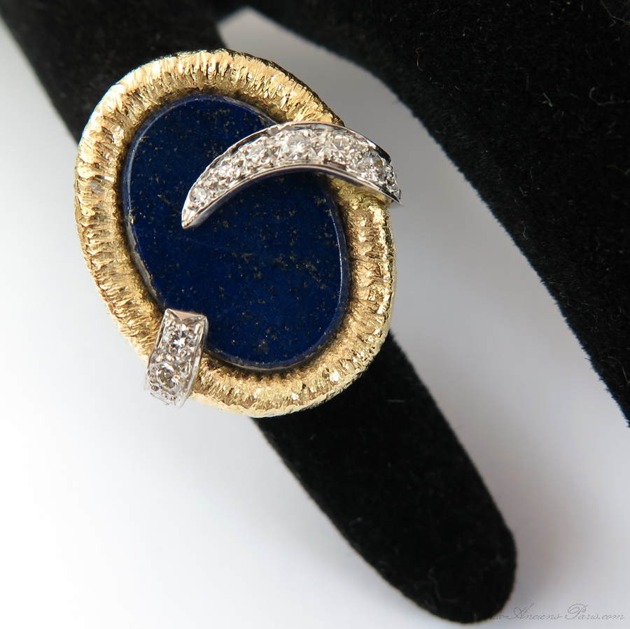 bague lapis lazuli vintage 1639 bijoux anciens paris or. Black Bedroom Furniture Sets. Home Design Ideas