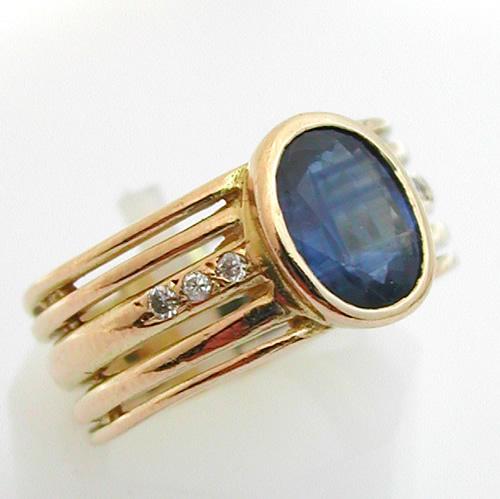 bague or saphir diamants 348 bijoux anciens paris or. Black Bedroom Furniture Sets. Home Design Ideas