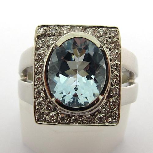 achat bijou moderne occasion paris 75005 vente bague diamant aigue marine 706. Black Bedroom Furniture Sets. Home Design Ideas