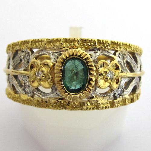 bijoux antiques bague or blanc or jaune pierre verte 836 bijoux anciens paris or. Black Bedroom Furniture Sets. Home Design Ideas