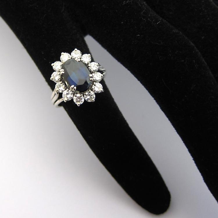 Extrêmement BAGUES DE FIANCAILLES OCCASION - Bague saphir diamants or blanc 893 LS77